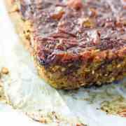 Lentil and walnut vegan 'meatloaf' with a sticky tomato glaze. Gluten free.