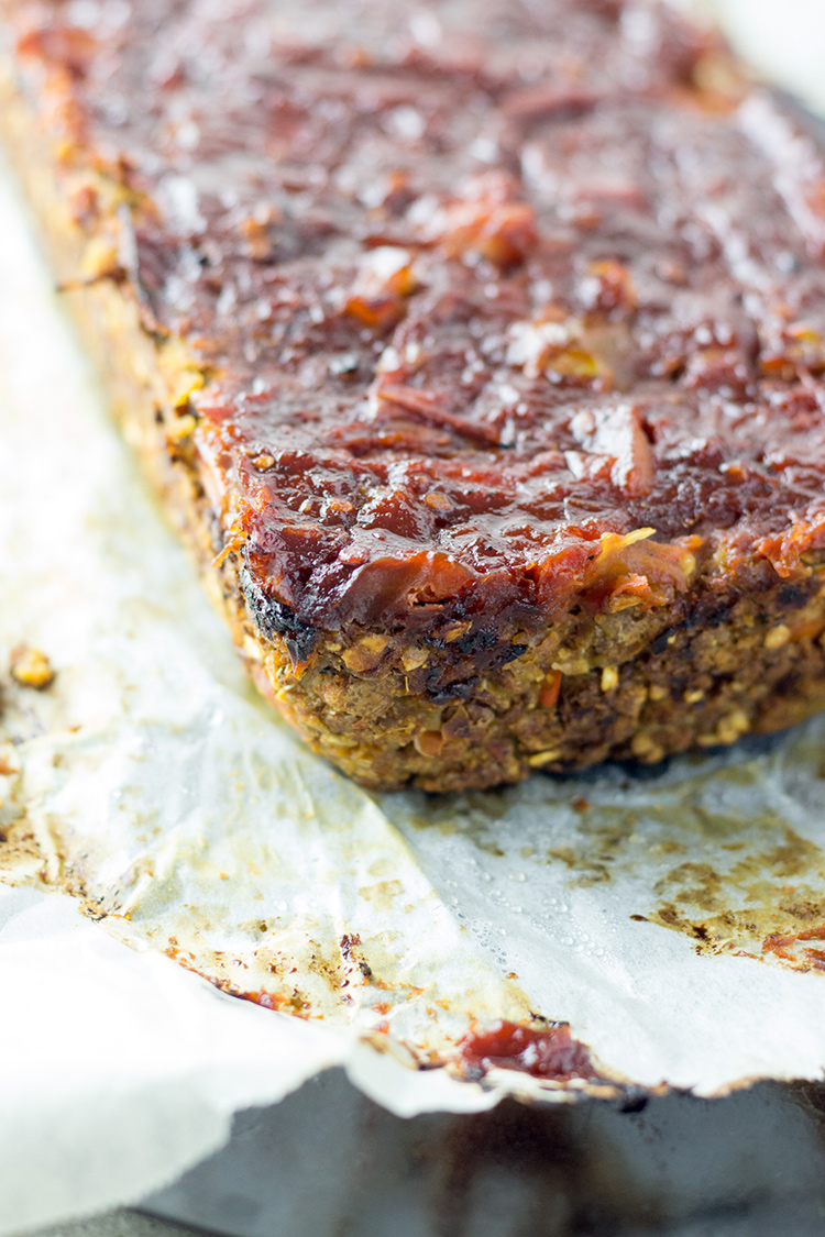 Lentil and walnut vegan 'meatloaf' with a sticky tomato glaze. Gluten free.