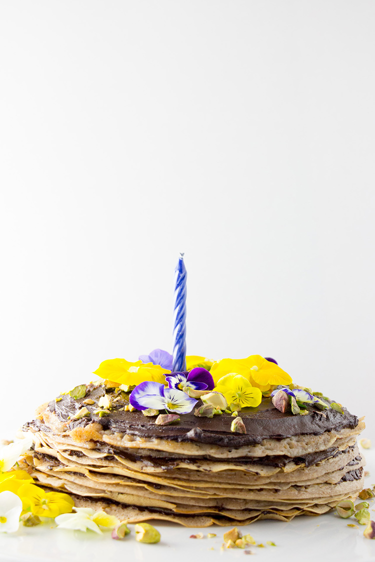 Vegan mille crepes cake (pancake cake layered with chocolate ganache) picture.