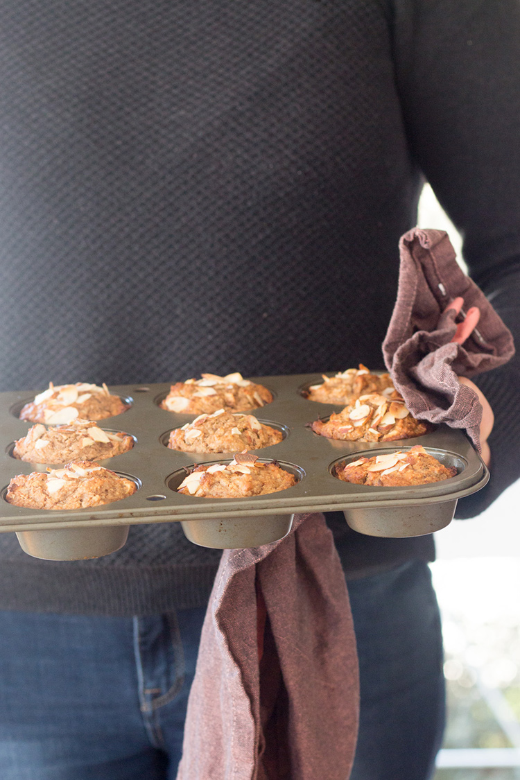 Almond, apple and banana breakfast muffins.