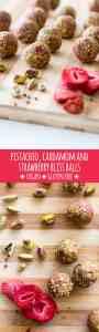 Pistachio, cardamom and strawberry bliss balls (vegan and gluten free).