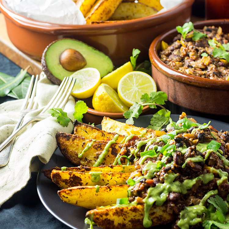 Cajun chili fries with avocado coriander sauce