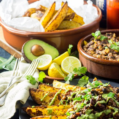 Cajun chili fries with avocado, lime and coriander sauce (vegan and gluten free).