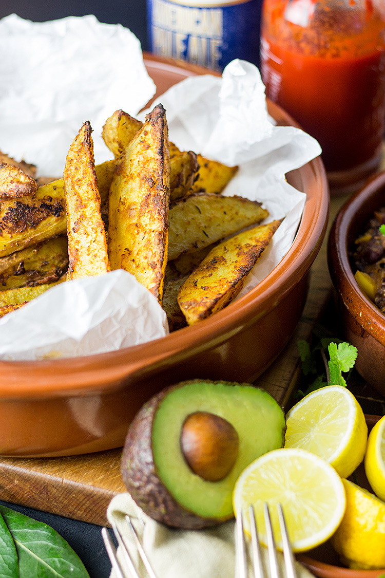 Cajun spiced potato wedges.