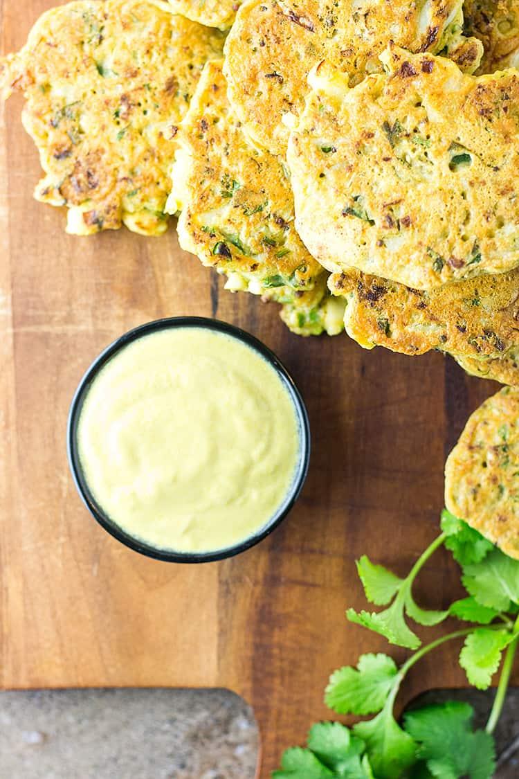 Spiced cauliflower fritters (vegan and gluten free).