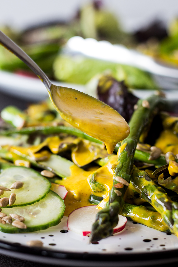 Asparagus salad with golden turmeric dressing (vegan and gluten free).