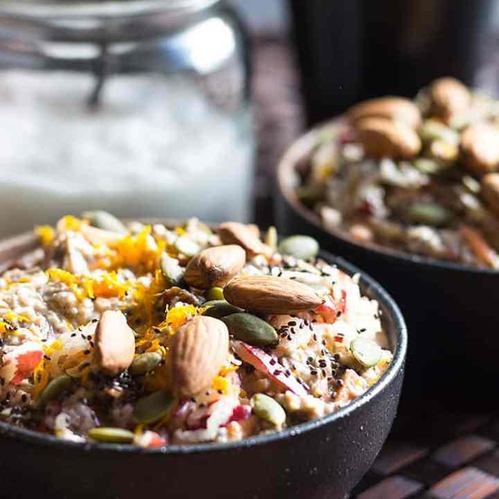 Carrot cake overnight oats (vegan and gluten free).