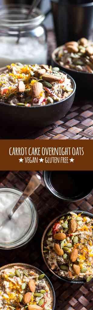 Nourishing carrot cake overnight oats (vegan and gluten free).