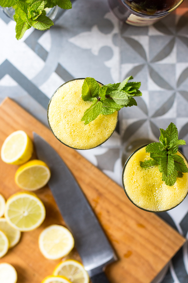 Pineapple and ginger rum cocktail with lime and mint (vegan and gluten free).