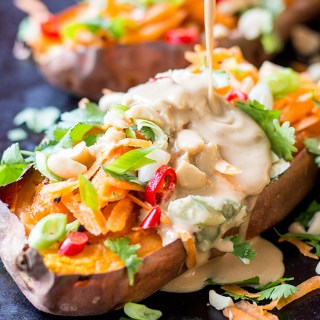 Twice baked sweet potatoes with easy Thai peanut sauce.