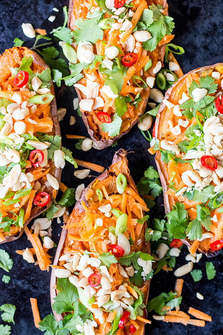 Twice baked sweet potato with easy Thai peanut sauce (vegan and gluten free).