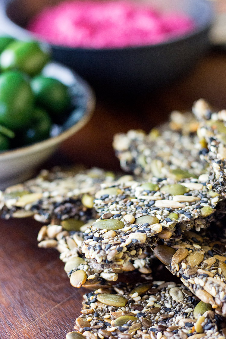 Easy home made five seed crackers (vegan and gluten free).
