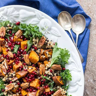 Sweet potato salad with pomegranate, pecans and barley (vegan).