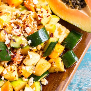 Rojak - Malaysian style spicy fruit salad (vegan).