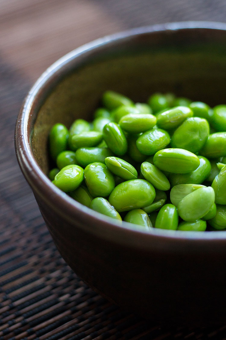 Cooked and podded edamame beans.