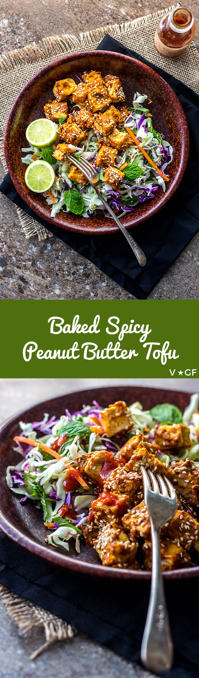 Oven-baked cubes of tofu coated with spicy peanut butter and sesame seeds are tasty protein bombs to add to salads (vegan and gluten free).