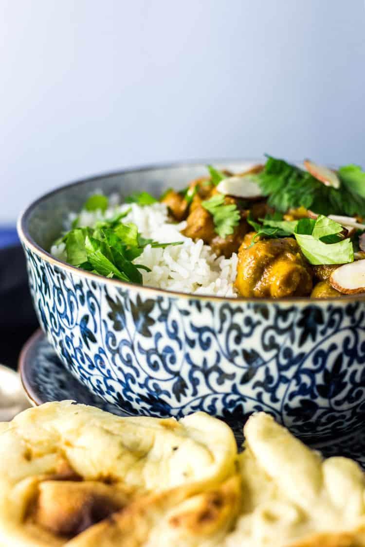Vegan mushroom korma with chickpeas (gluten free).