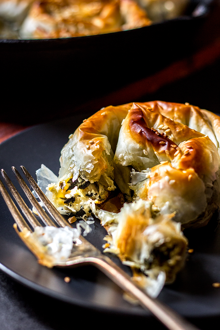 Creamy spinach and artichoke borek (vegan).