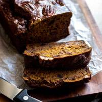 Spiced pumpkin loaf with dates and pecans (vegan and refined sugar free).
