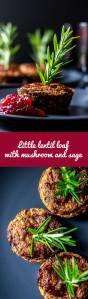 Little lentil loaf with mushrooms and fresh sage is a satisfying vegan and gluten free main course to serve with cranberry sauce at the festive table. #vegan #glutenfree