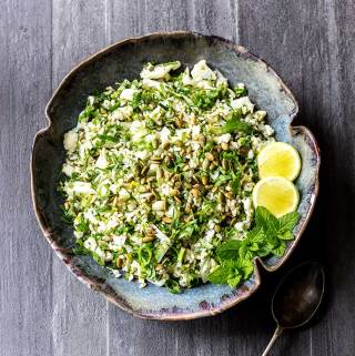 Cauliflower salad with lime and herbs.