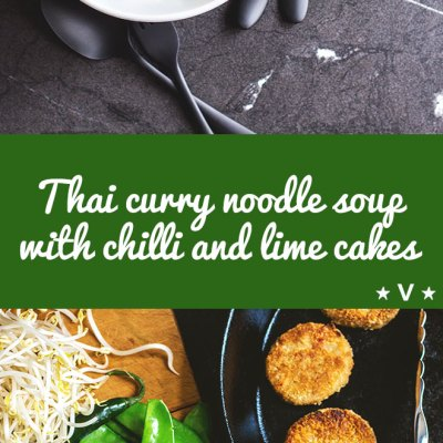 A quick and easy vegan weeknight dinner, this flavour packed Thai curry noodle soup with chilli and lime cakes can be pulled together with pantry and freezer ingredients and a few fresh greens.