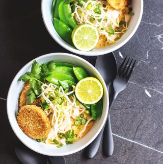 Thai curry noodle soup with chilli and lime cakes