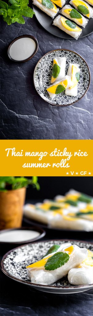 Thai-style coconut sticky rice in spring roll wrappers with juicy fresh mango and mint leaves - a light and refreshing dessert or sweet snack (gluten free and vegan).