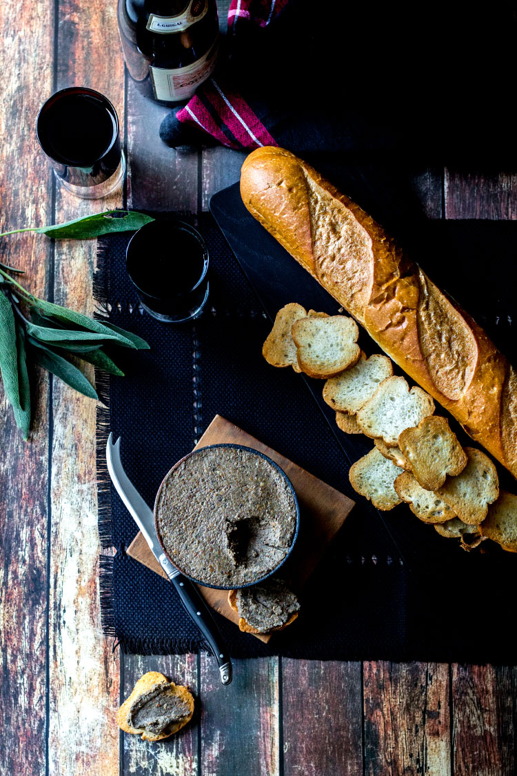 Mushroom and hazelnut vegan pate, served with toasted baguette and red wine.
