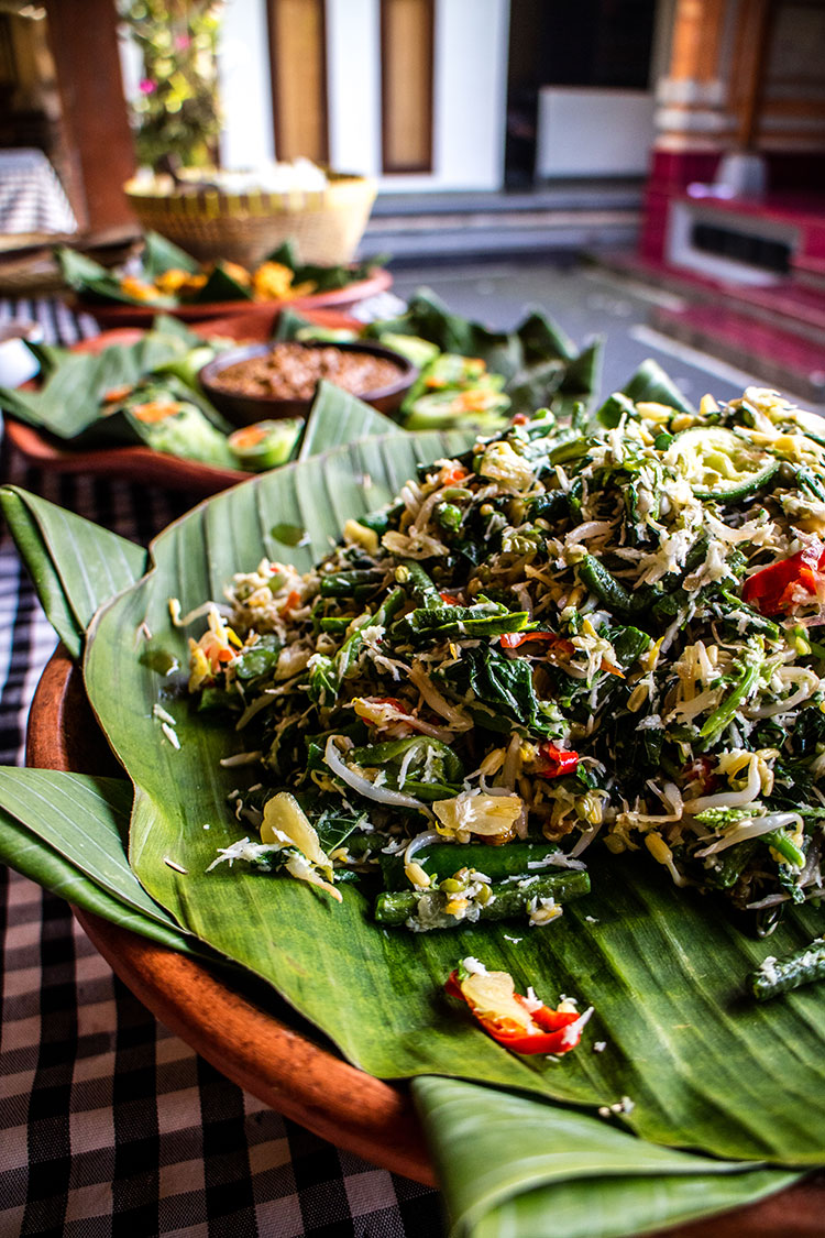 Urab sayur served as part of a Balinese meal.