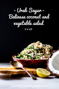 Urab sayur is a traditional Balinese salad made with blanched vegetables, grated coconut and a chilli-spiked dressing. Naturally vegan and gluten free, this salad is delicious served alongside curry and rice.