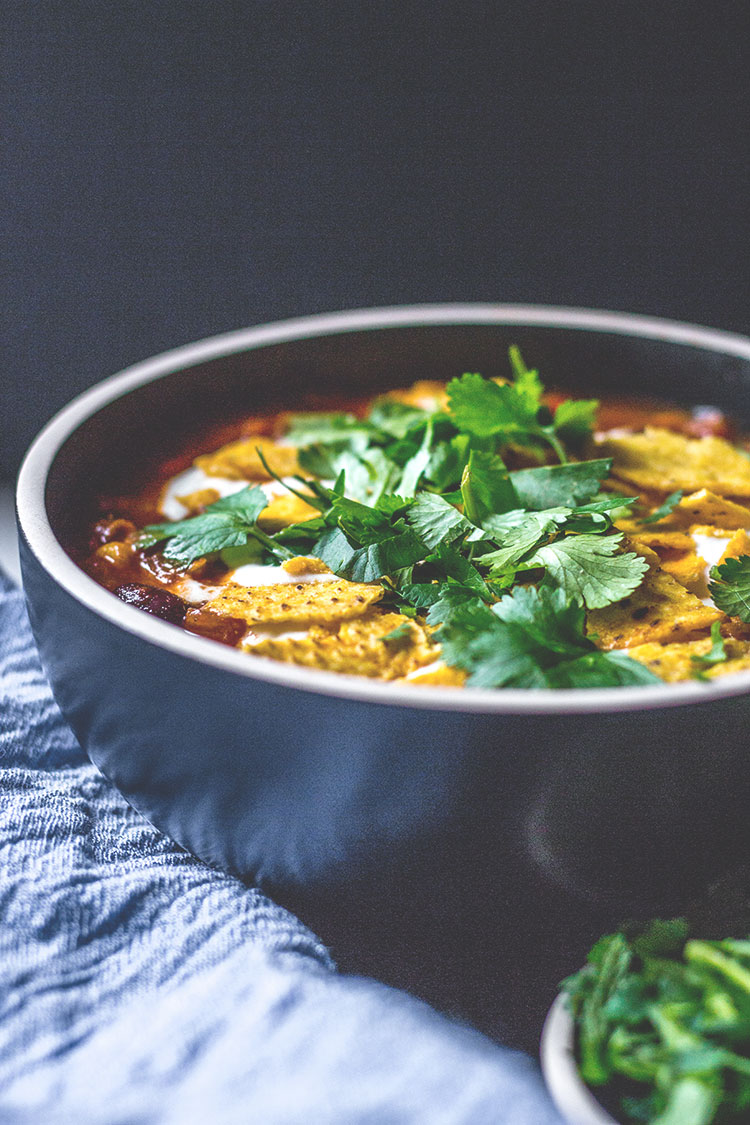 Black bean and corn nacho soup, topped with fresh coriander (cilantro).