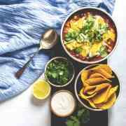 Black bean and corn nacho soup.