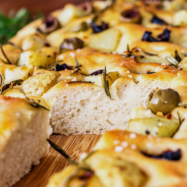 Potato foccacia with olives and rosemary.