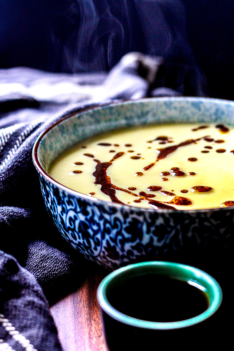 Saffron-infused cauliflower soup with sumac oil.