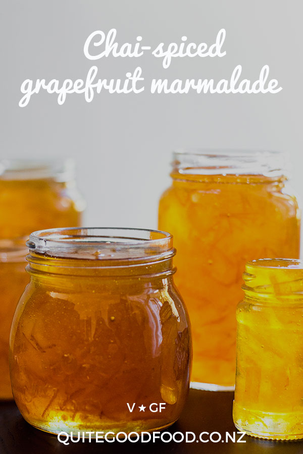 Sweet and sharp homemade grapefruit marmalade, with a hum of Indian chai spices running through it. Vegan and gluten free.