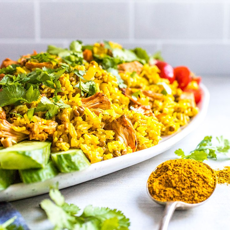 A vegan kedgeree of spiced basmati rice and lentils with tender chunks of smoky jackfruit as an alternative to smoked fish.