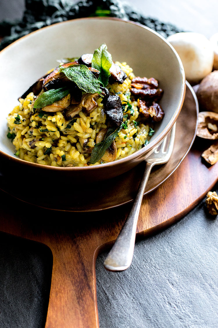 Vegan mushroom and kale risotto.