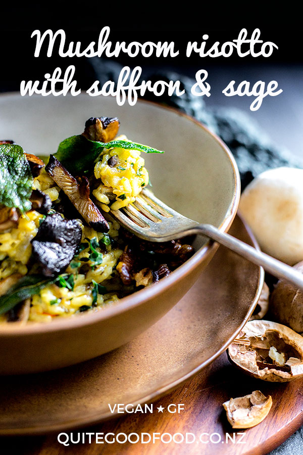 This comforting vegan mushroom risotto is richly flavoured with fragrant saffron, and topped with fried sage leaves, mushrooms and walnuts. Gluten free.