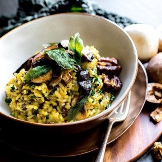 Mushroom risotto with saffron and sage