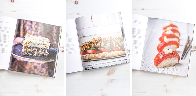 Recipe pages from Great Vegan Meals for the Carnivorous Family, by Amanda Logan.