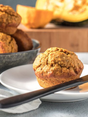 Pumpkin, orange and chia seed muffins.