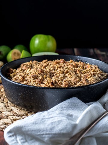 Apple and feijoa crumble with macadamias.