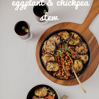 Maghmour is a boldly flavoured Lebanese vegetable stew with plenty of garlic and spice, tender fried eggplant, chickpeas and the deep, musky flavour of dried mint. Vegan and gluten free.