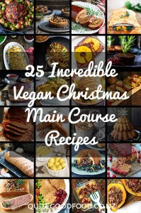 A collage of images of vegan Christmas main course recipes.
