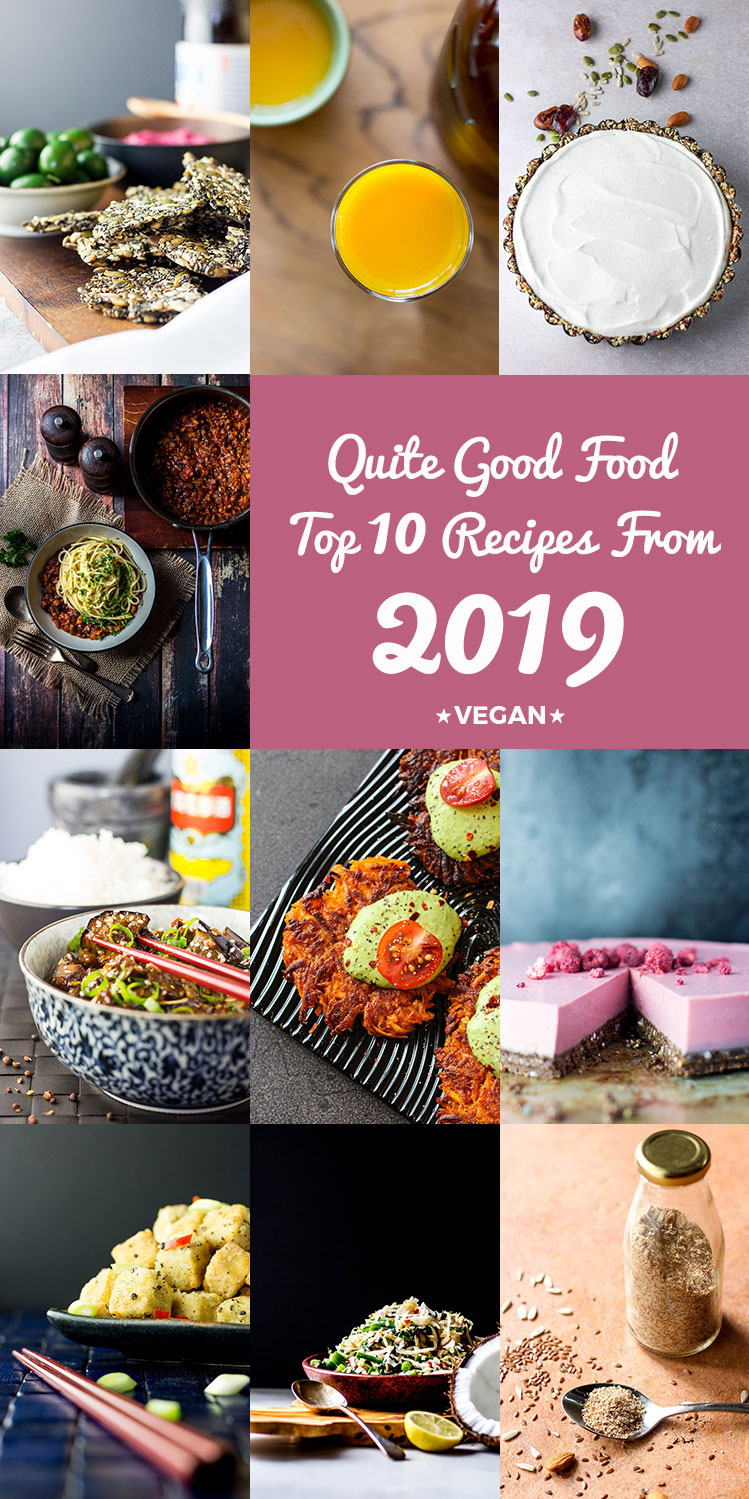 A collage image displaying the top 10 Quite Good Food recipes from 2019.