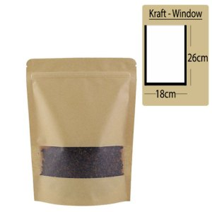 Quiware Stand Up Zip Lock Kraft – Window 18cm(Width) x 26cm(Long) -100 pouches