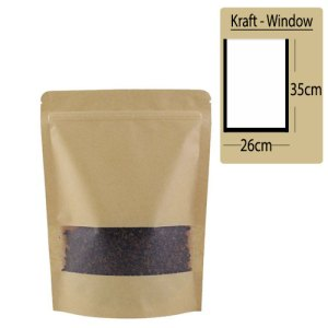 Quiware Stand Up Zip Lock Kraft – Window 26cm(Width) x 35cm(Long) -100 pouches