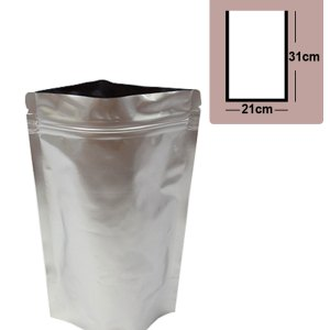 Quiware Stand Up Zip Lock Pure Aluminium Pouch 21cm(Width) x 31cm(Long) -100 pouches