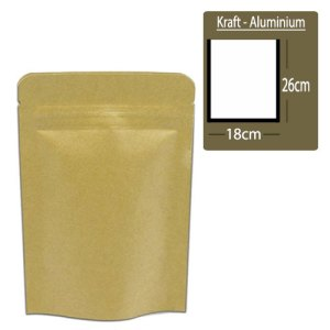 Quiware Stand Up Zip Lock Kraft – Inner Aluminium 18cm(Width) x 26cm(Long) -100 pouches